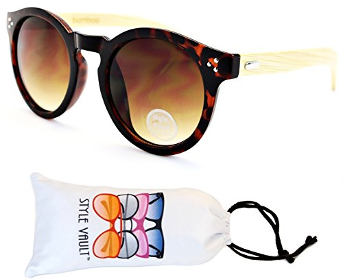 V118-vp Style Vault Round Panto Sunglasses (S3335V Tortoise Brown/Wood-Brown Smoked, - Pantos Sunglasses