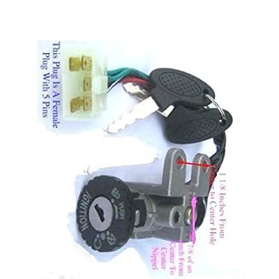 ScooterKey Ignition SwitchSet For49 50 cc TaoTao Peace Roketa Jonway NST Tank Gy6: Automotive