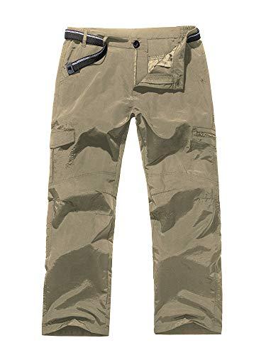 Jessie Kidden Women's Hiking Nylon Pants Adventure Quick Dry Lightweight Fishing Travel Mountain Trousers #2100-Khaki,28 ()
