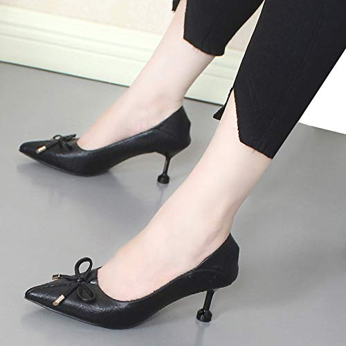 With Sweet Small Fresh Shoes Single Pu Black Yukun Autumn Soft Bow heels Pointed Women Heels High Stiletto v6w4nxY