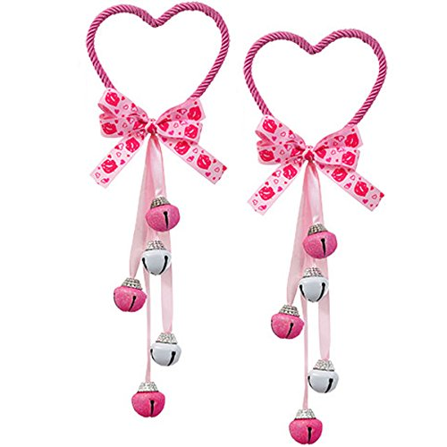 - Glitter Heart-Shaped Door Knob Hanger with Bells, 2 Pack (Light Pink)