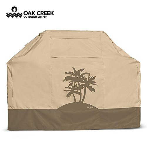 Cheap Oak Creek Designer Series BBQ Grill Cover, Heavy Duty Waterproof 600D Fabric, 58 Inch with Air Vents and Click Close Straps. Three Palms Print Design on Tan and Beige.