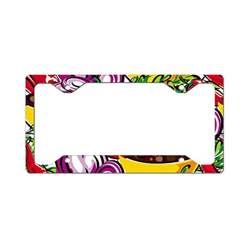 - Custom License Plate Frame Onion and Chili Seamless Pattern Aluminum Cute Car Accessories Narrow Top Design Only One Frame