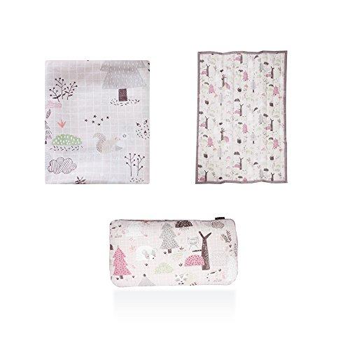 lolbaby Artificial Silk Blanket Set (Artificial silk blanket + Artificial Silk Pad + 3D Mesh pillow) - Good Sleep for Bay, Lightweight, Excellent Ventilation, Restoration, Durability - Pink forest