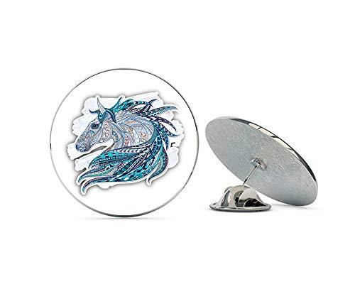 "Leyland Designs Patterned Horse Head Metal 0.75"" Lapel Hat Pin Tie Shirt Backpack Tack Pinback"