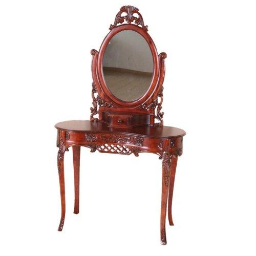 International Caravan Carved Wood Vanity with Mirror