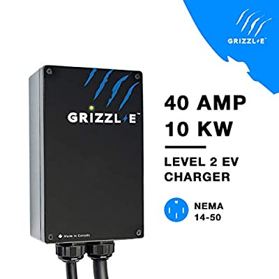 Grizzl-E Level 2 EV Charging Station 16/24/32/40 AMP NEMA 14-50 Input Cable 18 feet Output J1772 Cable