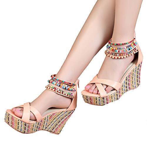 (getmorebeauty Women's Wedge Sandals with Pearls Across The Top Platform Sandals High Heels (7.5 B(M) US, Pink))