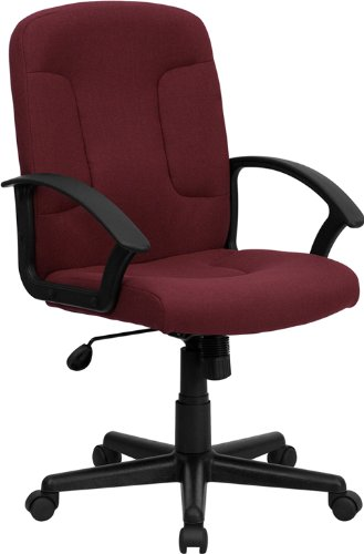 Flash Furniture Mid-Back Burgundy Fabric Executive Swivel Chair with Nylon Arms - Swivel Burgundy Task Chair
