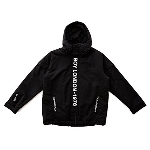 BOY London Unisex (S,M,L,XL) BOYLONDON Mid-Length Hooded Jacket -Black New_(BG3JP048) (Black, Small) by BOY London