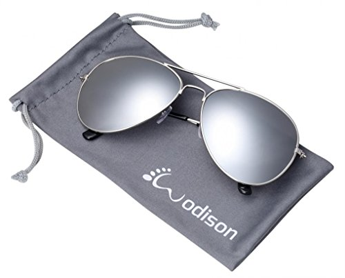 (WODISON Vintage Mirrored Aviator Sunglasses for Women Men Reflective Lens Metal)