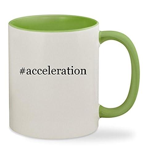 #acceleration - 11oz Hashtag Colored Inside & Handle Sturdy Ceramic Coffee Cup Mug, Light Green (Christian Light Education Math 2)