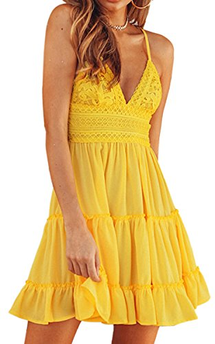 ECOWISH Womens V-Neck Spaghetti Strap Bowknot Backless Sleeveless Lace Mini Swing Skater Dress Yellow L