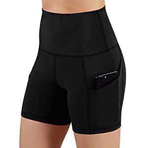 ODODOS High Waist Out Pocket Yoga Shots Tummy Control Workout Running 4 Way Stretch Yoga Shots
