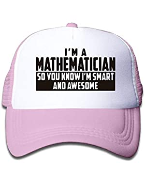 Smart and Awesome Mathematician On Children's Trucker Hat, Youth Toddler Mesh Hats Baseball Cap