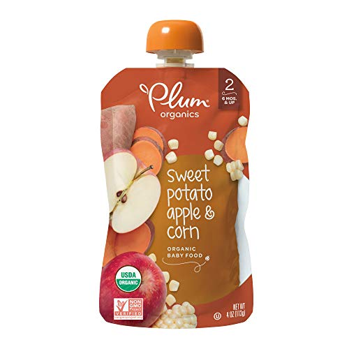 Plum Organics Stage 2, Organic Baby Food, Sweet Potato, Apple and Corn, 4 ounce pouches (Pack of 12) (Packaging May -