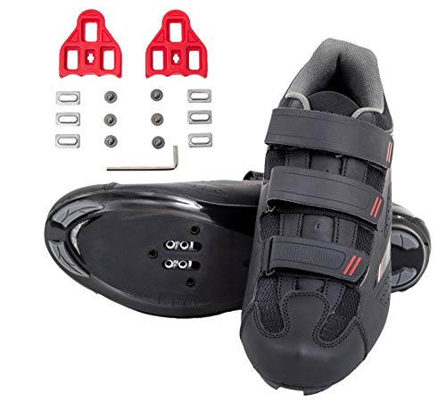 tommaso Strada 100 Dual Cleat Compatible Spin Class Ready Bike Shoe - Look Delta - 47 Black
