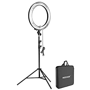 Neewer 18-inch 75W Dimmable Fluorescent Ring Light with 9 Feet/260cm Heavy Duty Light Stand and Carrying Bag for Ring Light for Portrait Photography, Make up, Selfie and Video Shooting