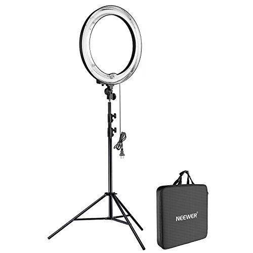 "Neewer® Camera Photo/ Video Ring Flash Light Kit, includes (1)18""/ 48 cm Outer 14""/35 cm Inner 600W 5500K Dimmable Ring Fluorescent Flash Light +(1)PRO 9 Feet / 260cm Heavy Duty Aluminum Alloy Photography Photo Studio Light Stands"