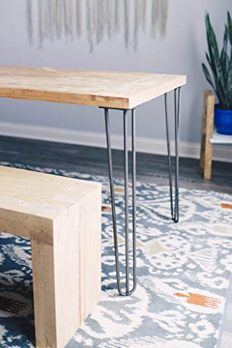 "Industrial By Design - 28"" Hairpin Furniture Legs - Desk, Coffee, Console, Side, Dining Table, Nightstand - (Silver) Mid…"
