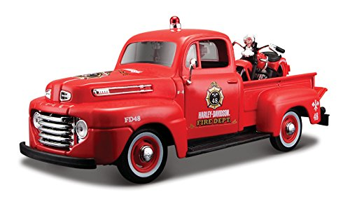 Maisto 1:24 Harley-Davidson 1936 EL Knucklehead Motorcycle and 1948 Ford F-1 Pickup Diecast Vehicle