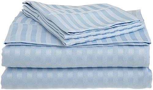 Twin XL Size 3pcs Bed Sheet Set Light Blue Stripe, 100 Percent Pure Cotton 500 Thread Count Wrinkle Free 12