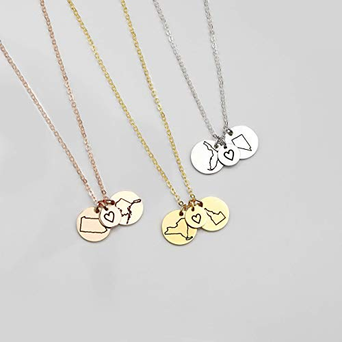 Best Friend Gifts Long Distance Friendship Jewelry State Necklace Charm Necklaces Custom Necklace Best Gifts Name Rose Necklace - CN-LDS (Custom Best Friend Necklaces)