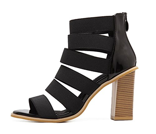 LINYI Women's Shoes Chunky Heel Summer New High Heels 2018 Hollow Sandals Daily Casual Black Vkkyjsz6