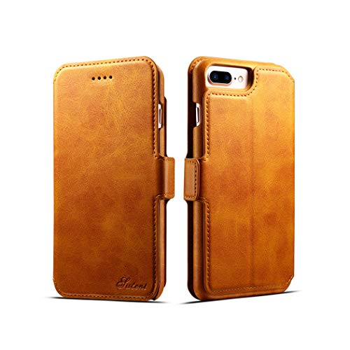 iPhone 7 Plus Case, iPhone 8 Plus Case, iPhone 7 Plus Leather Wallet Case - [Slim Fit] Vintage Flip Case Cover with Stand Function & Credit Card Slots for iPhone 7 Plus/iPhone 8 Plus(Light Brown) by SIW WSX