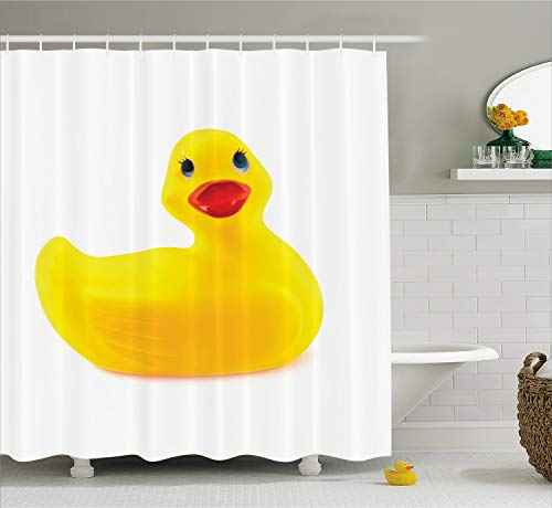 Ambesonne Rubber Duck Shower Curtain Set, Cute Yellow Squeak Ducky Toy Fun Bubble Bath Animal Kids Room Duckling Print, Fabric Bathroom Decor with Hooks, 70 Inches, White Yellow