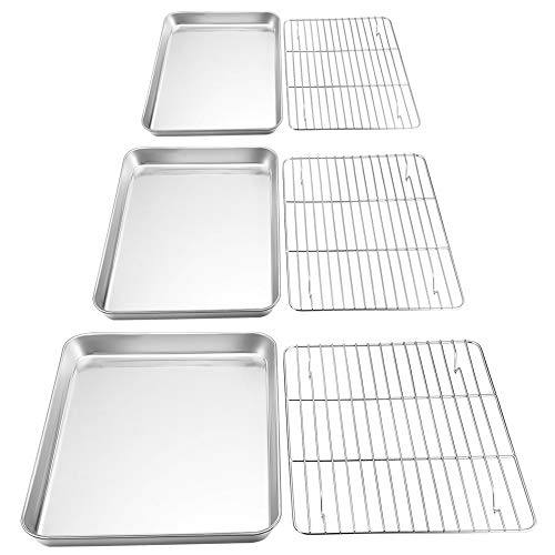 (P&P CHEF Baking Sheet and Rack Set, 6 PACK (3 Sheets + 3 Racks), Stainless Steel Baking Cookie Sheets Pans with Cooling Rack for Baking and Roasting, Oven & Dishwasher Safe)