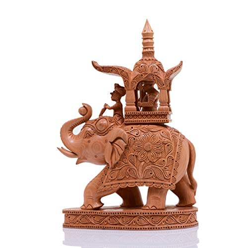 (Indus Creation Wooden Elephant Hand-Carved 11 inch Ambabari Design)