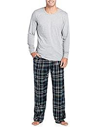 Men's Jersey Knit Long-Sleeve Top and Mink Fleece Bottom Pajama Set