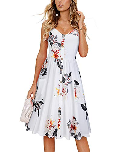 KILIG Women's Summer Floral Dress Spaghetti Strap Button Down Sundress with Pockets(Floral-04,L)