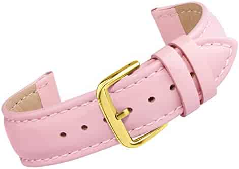 Watch Band Leather 12mm Watch Strap Replacement Colorful Pink Bracelet Belt Pin Buckle