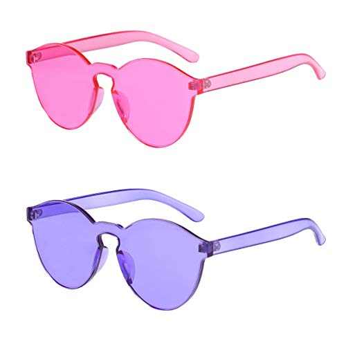 (One Piece Rimless Sunglasses Transparent Candy Color Tinted Eyewear(Rose Red+Purple))