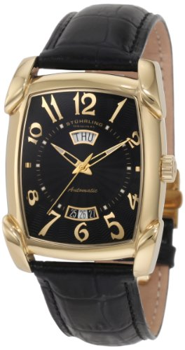 Stuhrling Original Men's 98.33351 Classic Metropolis Madison Avenue Campaign Automatic Day And Date Gold Tone Black Leather Strap - Complication Gents Watch