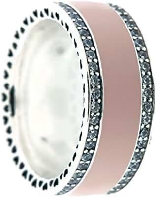 Hearts of PANDORA Ring, Soft Pink Enamel & Clear CZ 191024EN40