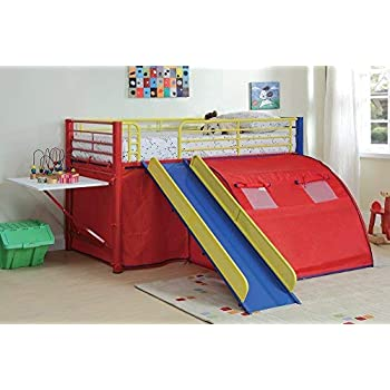 Amazon Com Donco Kids Twin Tent Loft Bed With Slide White