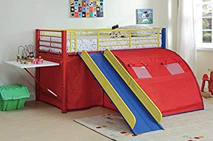 Amazoncom Oates Lofted Bed With Slide And Tent Multi Color