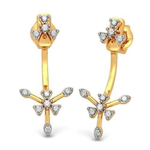 14 K Or jaune 0.24 CT TW White-diamond (IJ | SI) Boucles d'oreille à tige