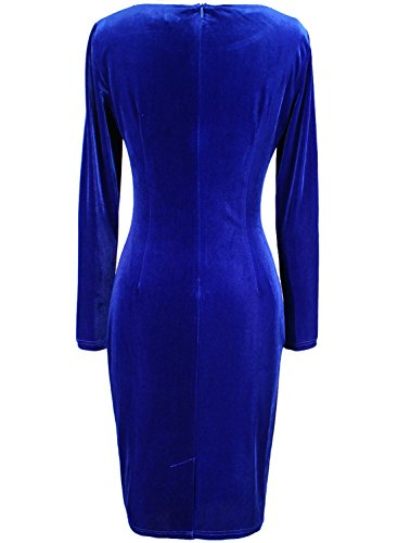 VfEmage Womens Vintage Velvet Ruched Work Party Cocktail Pencil Sheath Dress 8975 Blu 12