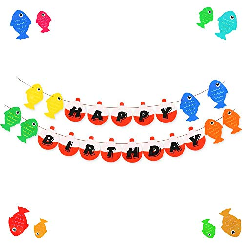 JeVenis Little Fisherman Fish Bobber Garland Banner for Gone Fishing Party Supplies School Home Decorations -