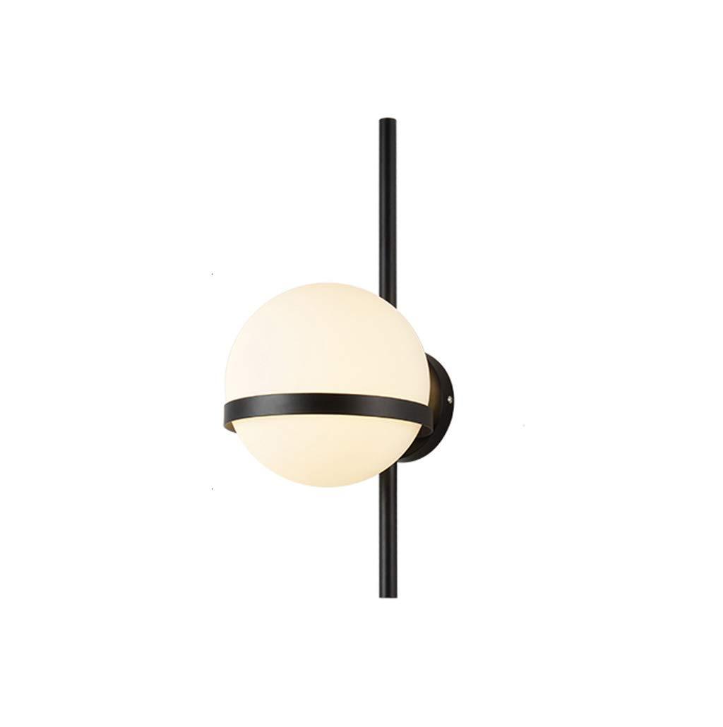 wandlampe Wandleuchten Moderne Design E27 Glaskugel Schlafzimmer Wohnzimmer Gang Wandleuchte Schlafzimmerleuchten (Farbe   SCHWARZ-20CM)