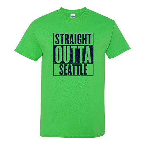 UGP Campus Apparel Straight Outta Seattle - Seattle Football T Shirt - Small - Electric Green