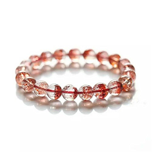 LiZiFang Golden Natural Strawberry Quartz Bracelet Crystal Lepidocrocite Super Seven Melody Stone Stretch Round Bead Bracelet 9mm
