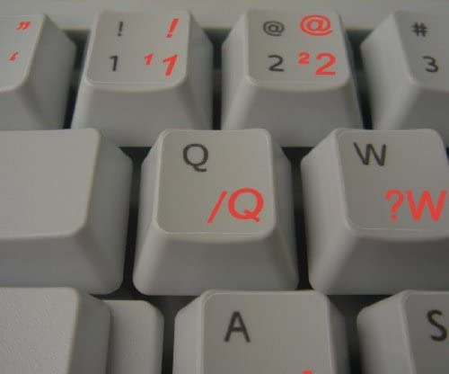 PORTUGUESE BRAZILIAN KEYBOARD STICKERS WITH RED LETTERING ON TRANSPARENT BACKGROUND