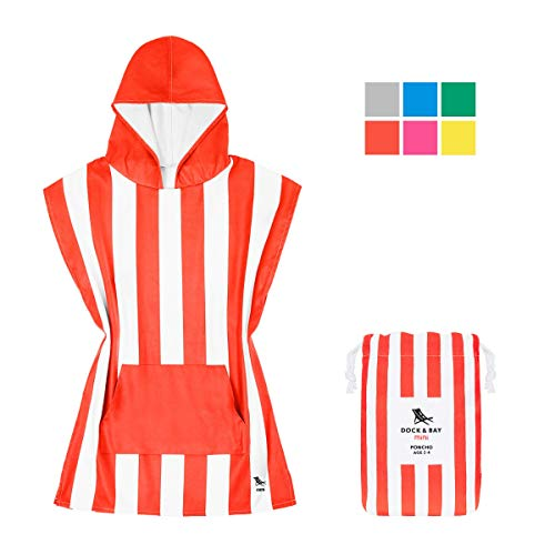 Dock & Bay Kids Microfibre Hooded Towel Red - Waikiki Coral Red, Toddlers (2-3 Years) - Childrens Beach Towels Poncho, Absorbent & ()