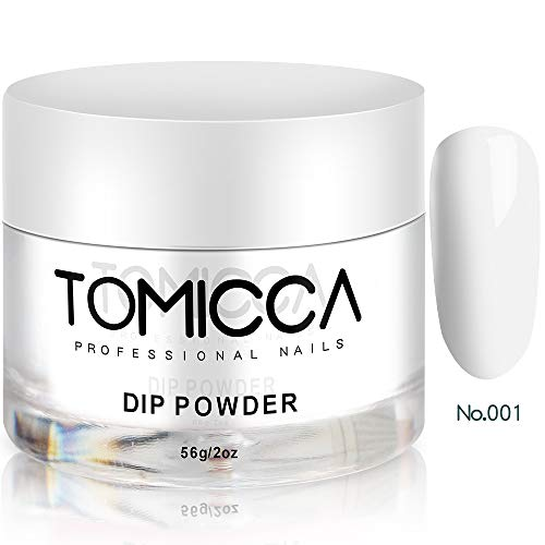 TOMICCA Dip Powder French Wihte Nail Acrylic Powder Nail Polish 2 OZ- No Need UV/LED - White #001