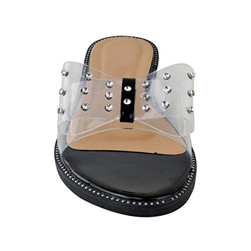 Sandales Bout Noir en Transparent Ouvert Plexiglas Été Plates Strass Thirsty Femme Verni Fashion 8wA7t5qA